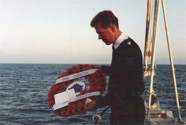 October 2nd 1992 ( HMS Nurton ) laying wreath at exact spot of sinking of HMS Curacoa 2.10.pm Oct 2nd 1942