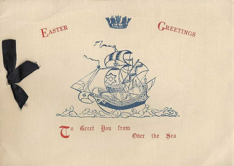 Easter Greeting card, H.M.S. Electra. dated 1940