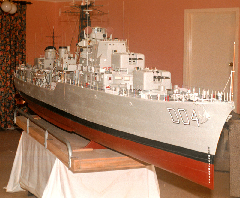 A 5 metre long model of HMAS Voyager built by Ken Taylor