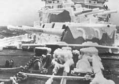 ice-encrusted 6-inch guns