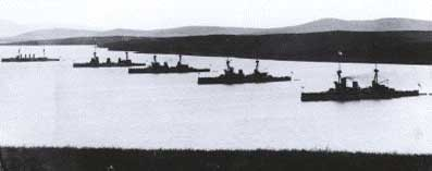 Battle Cruisers anchored in Scapa Flow