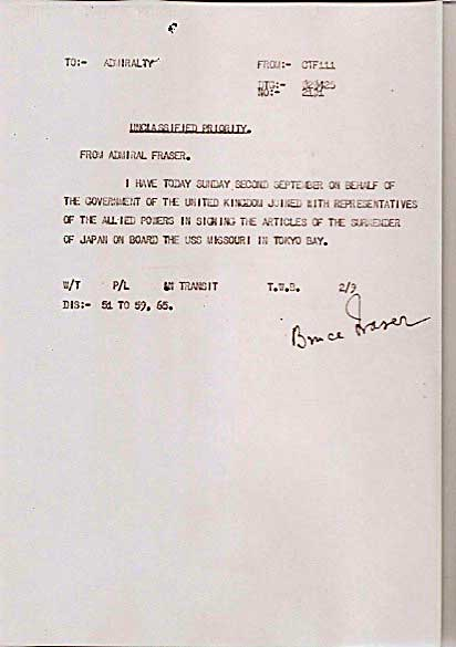 Signal to British Pacific Fleet by Admiral Bruce Fraser on the day of signing the Japanese Surrender