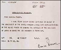 Signal to British Pacific Fleet by Admiral Bruce Fraser on the day of signing the Japanese Surrender - click to read more