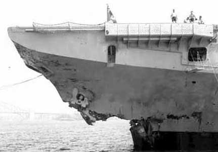 Aircraft carrier Melbourne, damage