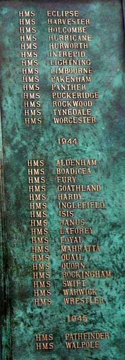 Column 2 New Memorial at Chatham to record names of Royal Navy and Dominion Destroyers sunk in WW2 over 1939-1945