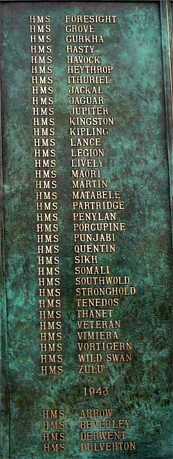 Column 3 New Memorial at Chatham to record names of Royal Navy and Dominion Destroyers sunk in WW2 over 1939-1945