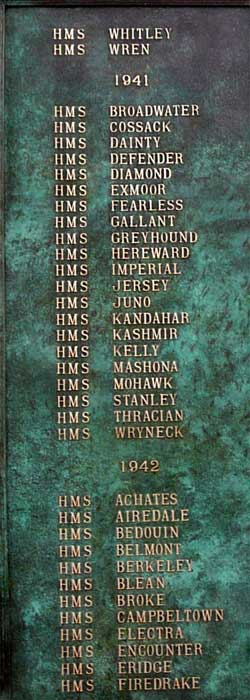 Column 4 New Memorial at Chatham to record names of Royal Navy and Dominion Destroyers sunk in WW2 over 1939-1945