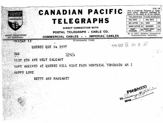 Telegram Sent from Quebec after arrival in Canada
