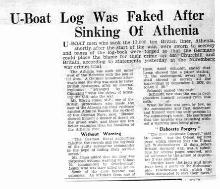 Report of Faking U-Boat log in relation to the sinking of Athenia text