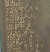 PERCY WALTER GORE Plymouth Naval Memorial at Panel 47, in Column 1
