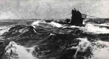 U-Boat on Patrol North Atlantic WW2.