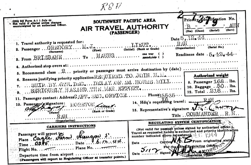 Mac's 1944 Travel Document