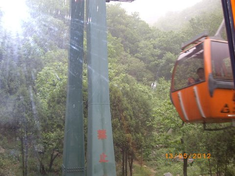 Cable car descends from the Wall at Beijing