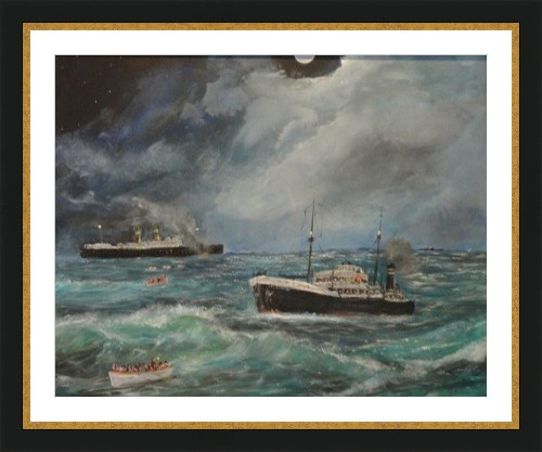 Painting of SS Valdemossa rescuing children from SS Volendam in Aug 1940 after being torpedoed by U-60 by Brian Killin