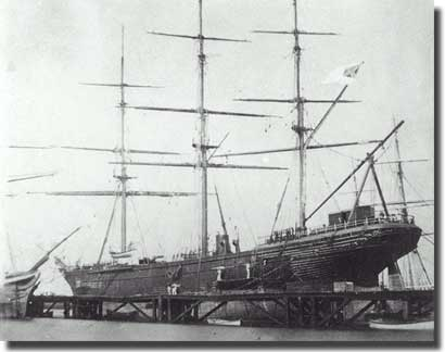 CSS Shenandoah high and dry in the graving dock at Williamstown, a suburb of my own city of Melbourne. February, 1865.