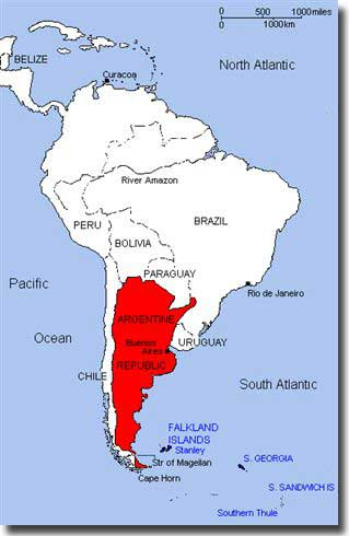 Map locating Falkland Islands to South America