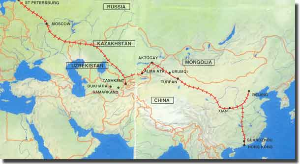 Map of our journey, Hong Kong to St Petersburg