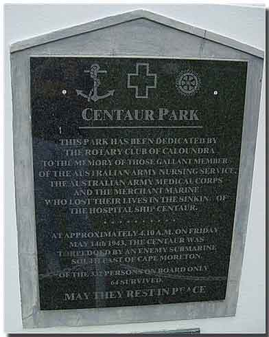 Memorial Plaque at Centaur Park, Caloundra Queensland