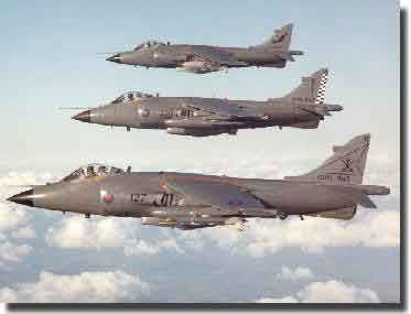 Fleet Air Arm Sea Harriers in action in Falklands War