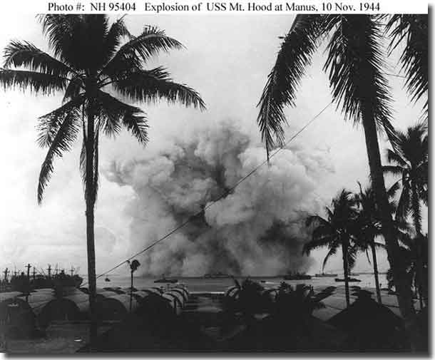 USS Mount Hood Ammunition ship disintegrates in explosion at Seeadler Harbour, Manus Island 10th. of november 1944.