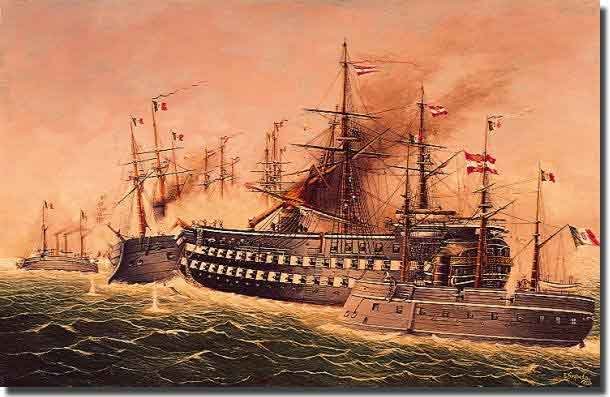 This painting by Eduard Nezbeden in 1911 depicts the Austrian triple decked wooden battleship Kaiser, ramming the Italian ironclad Re di Portogallo. Kaiser was severely damaged in this encounter