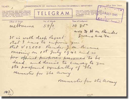 Copy of one of the telegrams despatched in October 1945 about the fate of one of those captured in Rabaul, and lost when Montevideo Maru was sunk on the 1st. of July 1942