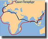 The route taken by Aurora to the Far East, and her subsequent return home