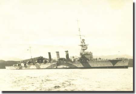 HMAS Adelaide involved in the action against the German Blockade Runner Ramses