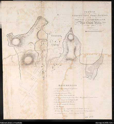 Sketch of Sydney Cove 1788.