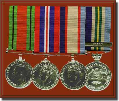 From Left to right: Defence Medal, The War Medal 1939-1945, The Australian Service Medal 1939-1945, The Australian Service Medal 1945-1975, with Japan Clasp.