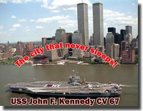 CV 67 USS John F Kennedy in front of the Twin Towers, destroyed in the Terrorist attack 11th, September 2001.