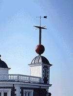 Greenwich Time Ball erected in 1833. The ball was dropped daily at 1300 ( 1 PM ) and was used to check marine chronometers by sailors on the Thames.