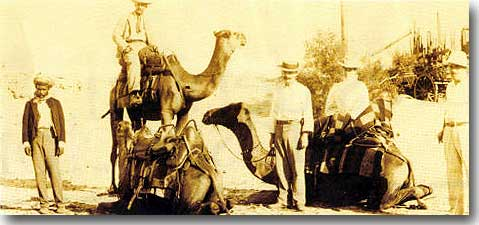 Herbert Hoover on the camel, ready to lead a prospecting party in Western Australia, 1898.