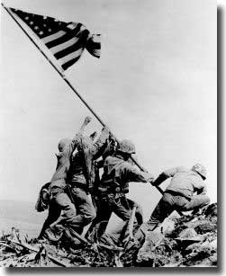 US Marines raise Old Glory on Iwo Jima.