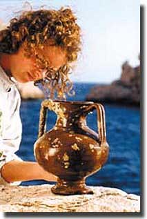 Hand painted jug found at the site of 5th.BC shipwreck at Tektas Turkey