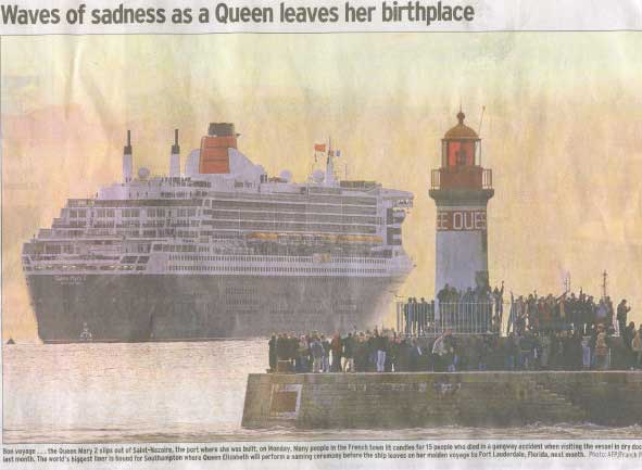 The Queen Mary 2 leaves France where she was built, for her new base at Southhampton