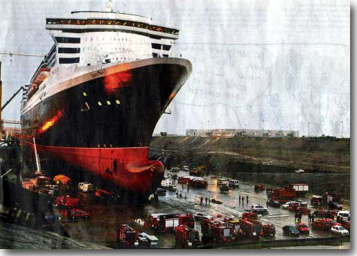 Giant Luxury Liner Queen Mary 2, Site of an accident killing 15 people