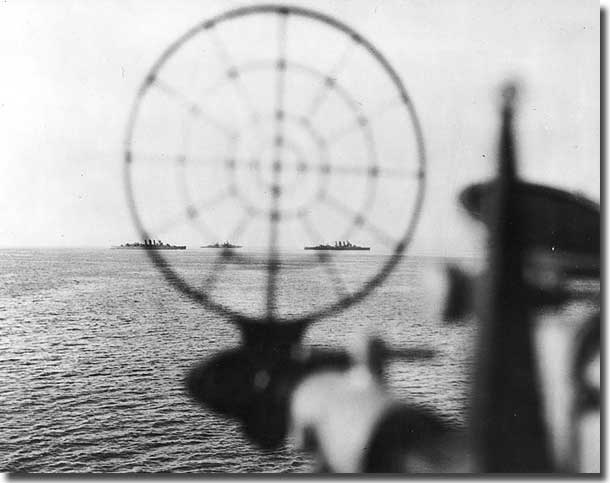 HMA Ships, Shropshire and Australia taken from USS Phoenix at Leyte in 1944.