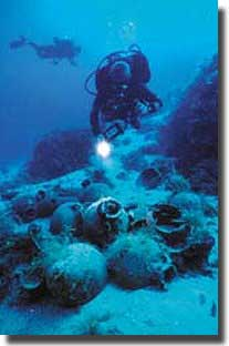 The site of Tektas Burnu shipwreck showing amphoras in a depth of 42 metres.