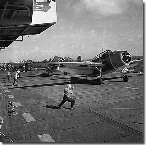 Avenger TBF's ready to roll on deck of US Carrier Monterey, attack on Truk Lagoon, 17th. February 1944