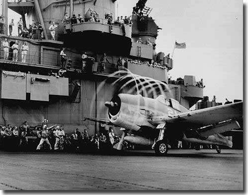 F6F Hellcat, readied on the flight deck of one of the attacking carriers at Truk, 17th. February 1944.
