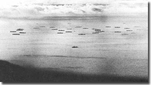 Convoy at sea North Atlantic, WW2