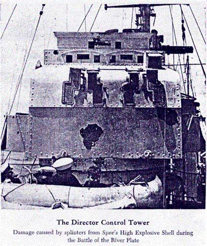 Damage to the Achilles' Director from splinters arriving from Graf Spee's gunfire.