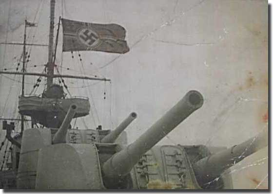 A captured German Ensign from Graf Spee flies on board Achilles.