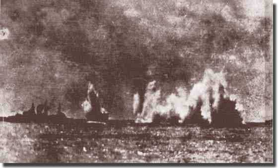 A Japanese photograph. Exeter straddled by fire from Japanese cruisers Nachi and Haguro
