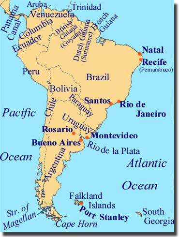South america map rivers