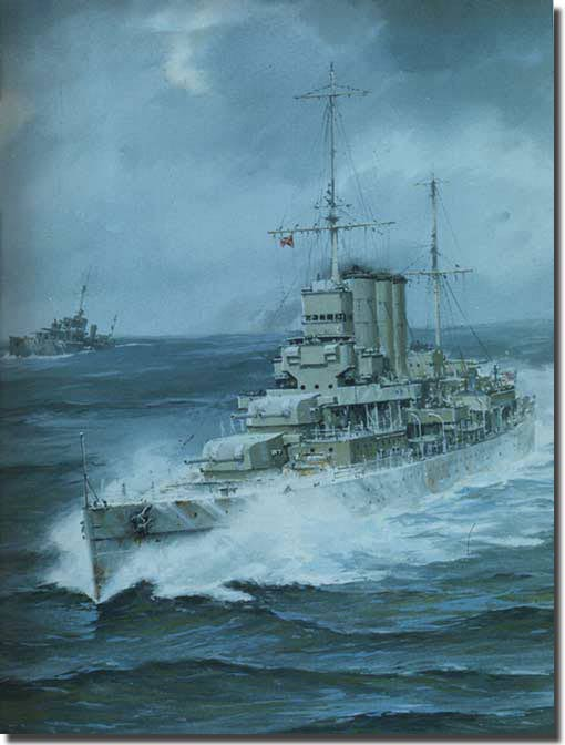 Illustration of Canberra at sea prior to Savo.""