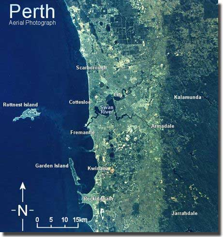 An aerial view of Perth