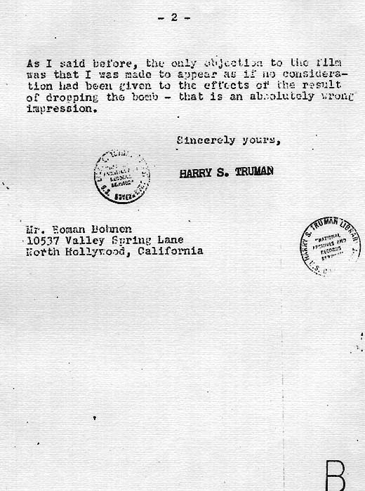 President Harry S. Page 2 Truman's letter to Mr. Bohnen's objection to the film because it made the decision to drop the bomb look like a snap judgment, December 12, 1946