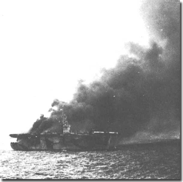 The Baby Carrier USS St Lo, burning from a crashed Kamikaze